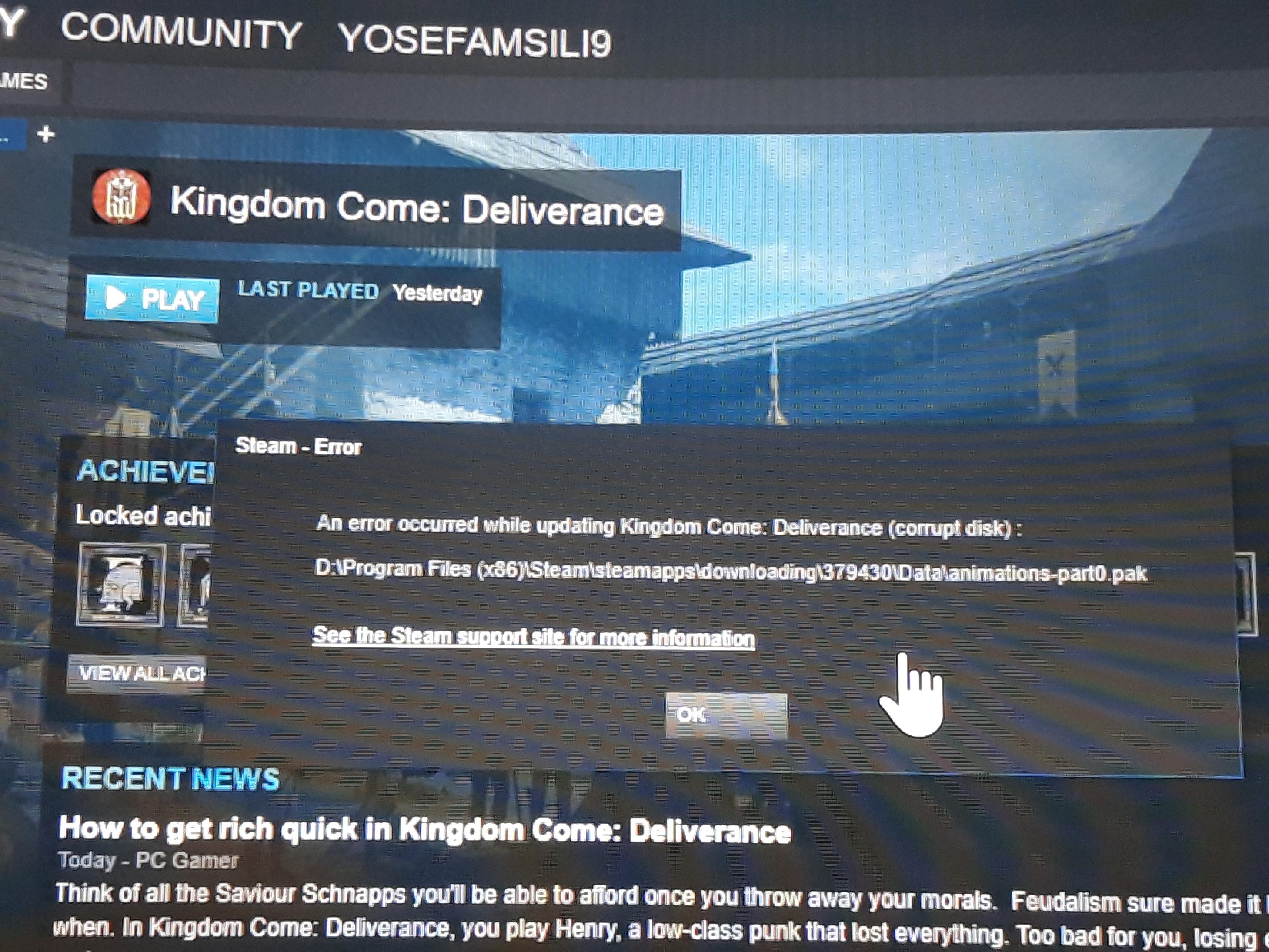 Not work (erorr) - Gameplay - Kingdom Come: Deliverance Forum