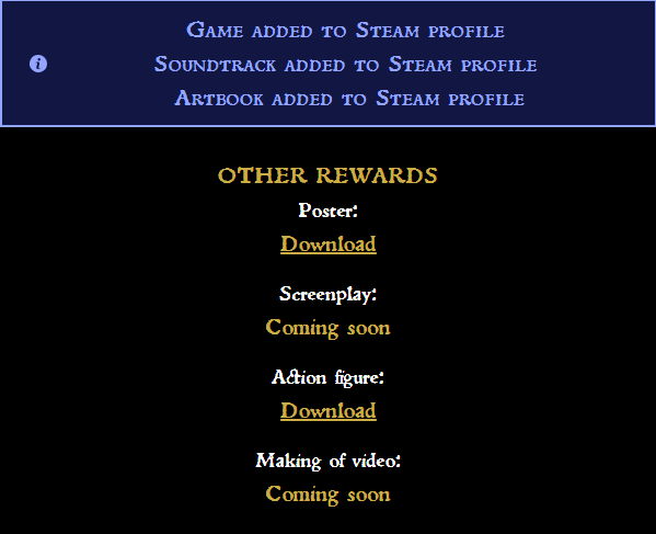 No Soundtrack and Art book in my Steam profile - Pledge/Kickstarter